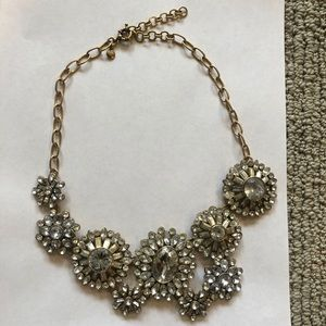 J. Crew Faux Diamond Flower Statement Necklace